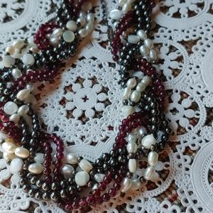 Pretty seed pearl, hematite, garnet necklace